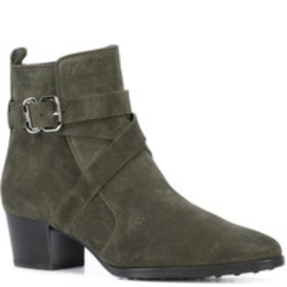 TOD'S Olive Suede Ankle-Strap Ankle Boots EUC/sz 9